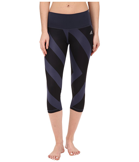 adidas - Performer Mid-Rise 3/4 Tights - Greater Than Bold Print (Midnight Grey/Black Print/Matte Silver) Women's Workout
