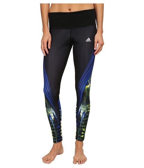 adidas - Performer Mid-Rise Long Tights - Infinite Energy (Black/Bold Blue/Multicolor Print/Matte Silver) Women