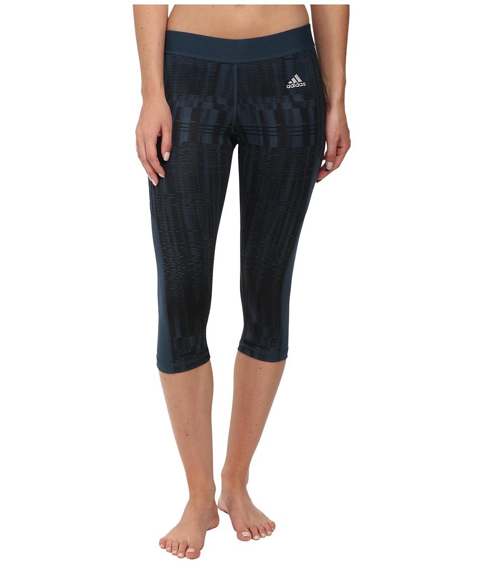 adidas - TECHFIT Capri Tights - Vibration Print (Midnight/Black/Print/Matte Silver) Women
