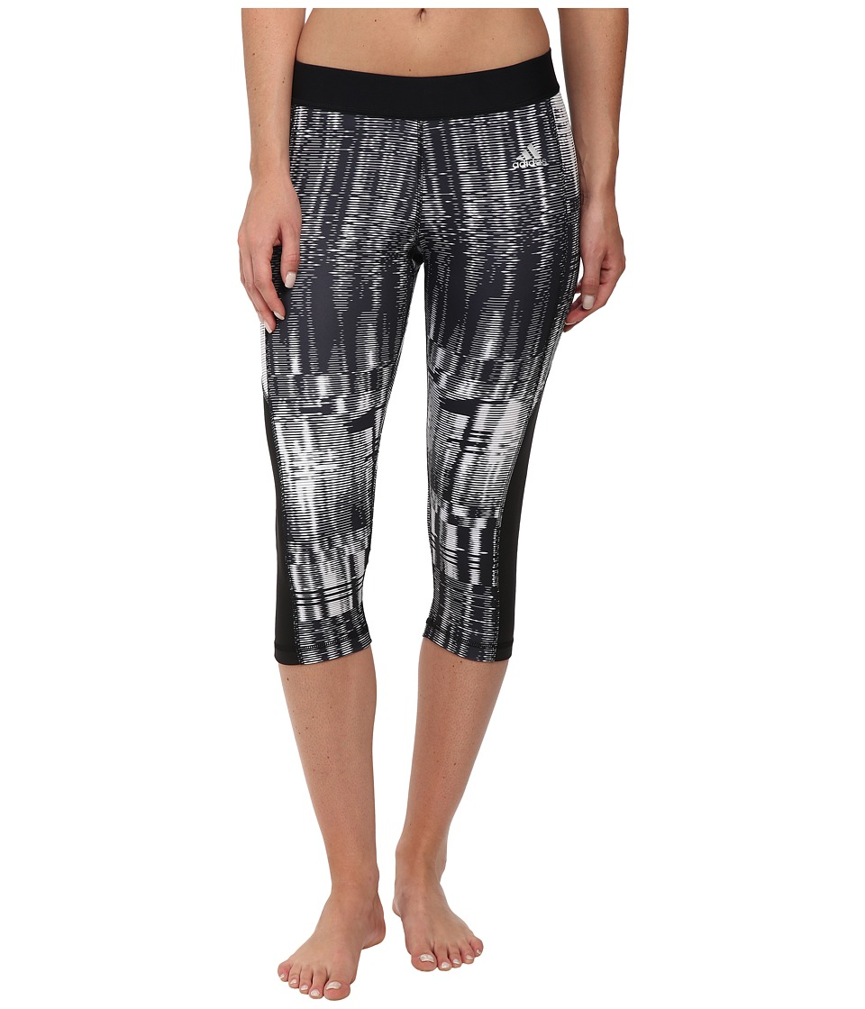 adidas TECHFITtm Capri Tights Vibration Print (White/Black Print/Matte Silver) Women