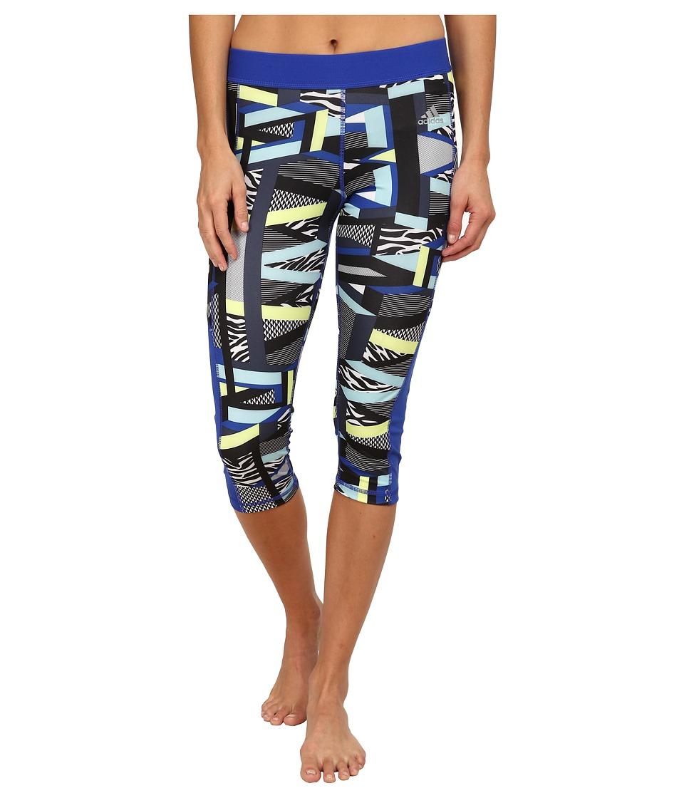 adidas - TECHFIT Capri Tights - Amazing Print (Bold Blue/Multicolor Print/Matte Silver) Women's Workout plus size,  plus size fashion plus size appare