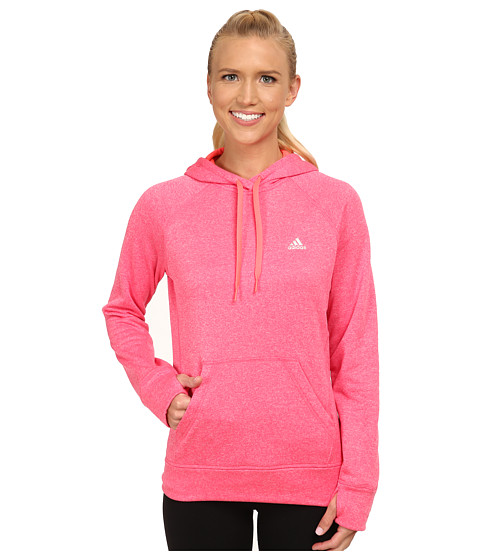 adidas - Ultimate Fleece Pullover Hoodie (Super Pink/Flash Red) Women's Workout