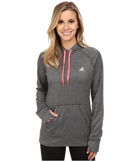 adidas - Ultimate Fleece Pullover Hoodie (DGH Solid Grey/Flash Red) Women