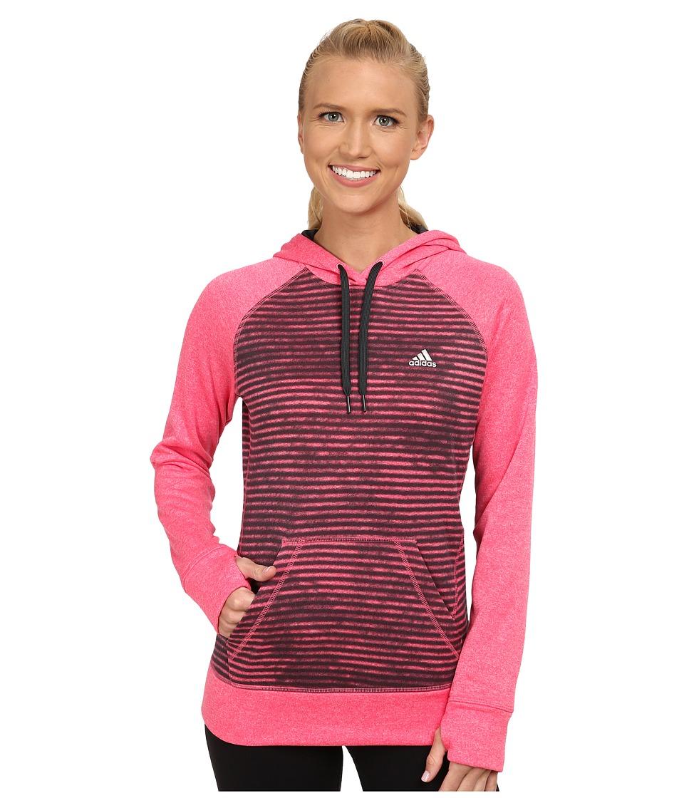 adidas - Ultimate Fleece Pullover Hoodie - Illuminated Screen Print (Super Pink/Dark Grey) Women's Sweatshirt