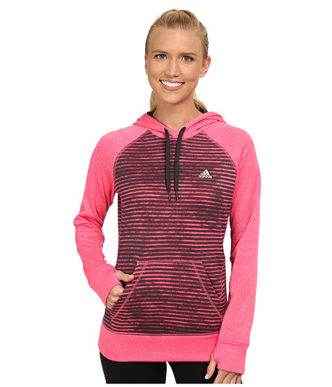 adidas - Ultimate Fleece Pullover Hoodie - Illuminated Screen Print (Super Pink/Dark Grey) Women's Sweatshirt