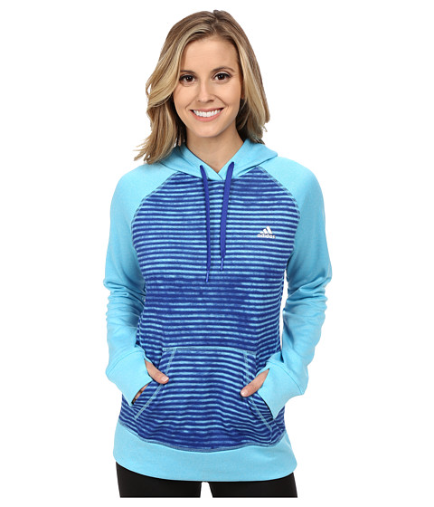 adidas - Ultimate Fleece Pullover Hoodie - Illuminated Screen Print (Bright Cyan/Bold Blue Print) Women's Sweatshirt