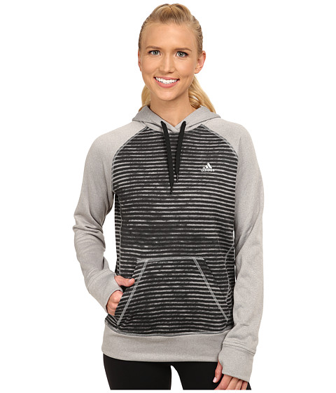 adidas - Ultimate Fleece Pullover Hoodie - Illuminated Screen Print (MGH Solid Grey/Black Print) Women's Sweatshirt