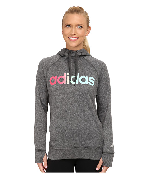 adidas - Ultimate Fleece Logo Pullover Hoodie (DGH Solid Grey/Black) Women's Sweatshirt