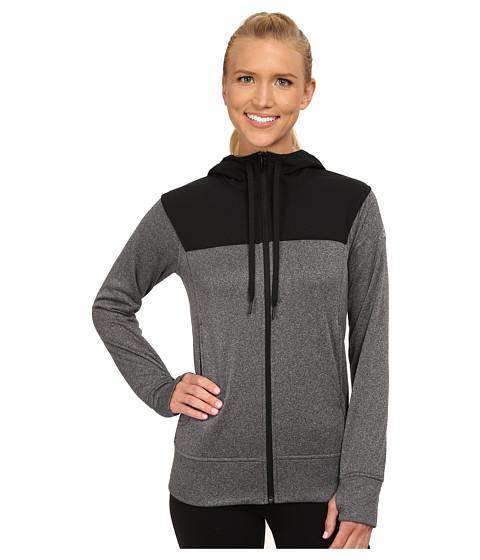 adidas - Go-To Fleece Full-Zip Hoodie (DGH Solid Grey/Black) Women's Sweatshirt