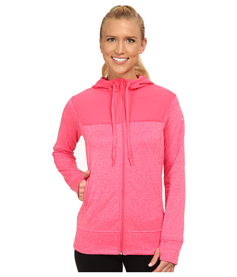 adidas - Go-To Fleece Full-Zip Hoodie (Super Pink Heather/Super Pink) Women's Sweatshirt