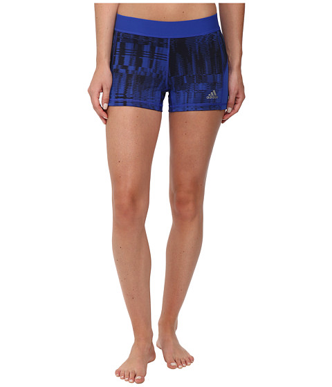 adidas - TECHFIT 3 Short Tights - Vibration Print (Bold Blue/Black Print/Matte Silver) Women's Workout