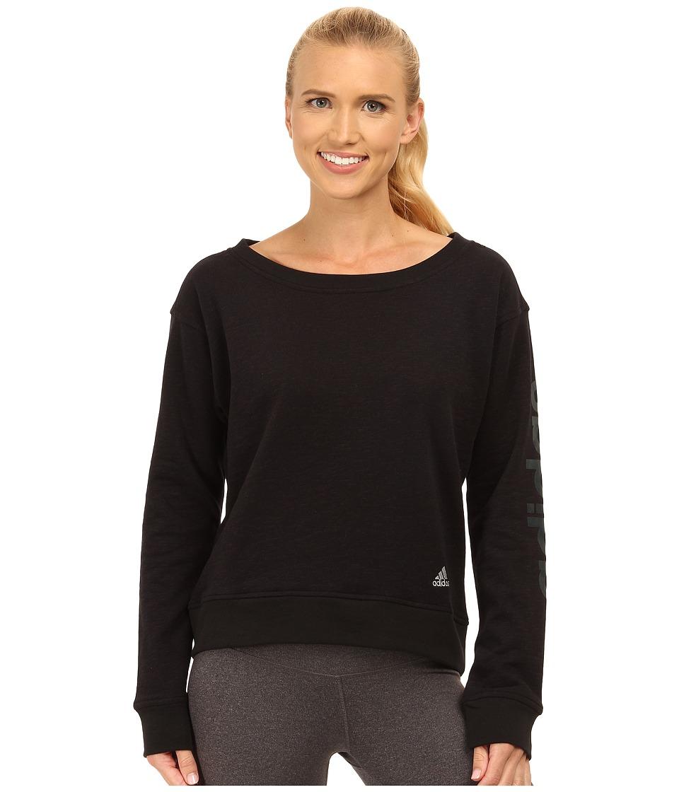 adidas - 24 Seven Crew (Black Melange) Women's Long Sleeve Pullover