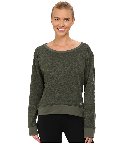 adidas - 24 Seven Crew (Base Green M lange) Women's Long Sleeve Pullover