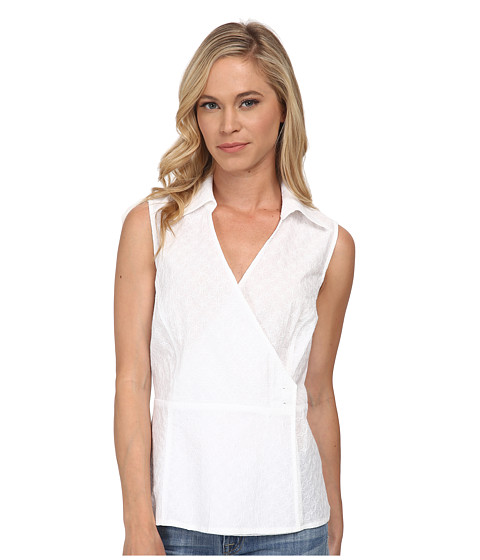 Pendleton - Petite Sleeveless Wrap Shirt (White) Women