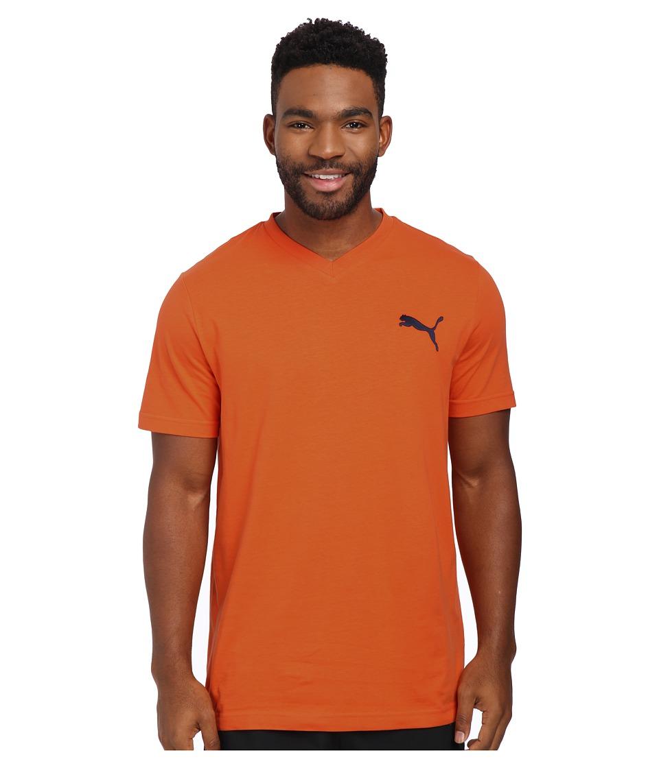 PUMA - Ideal V Tee (Vermillion Orange/Peacoat) Men's T Shirt
