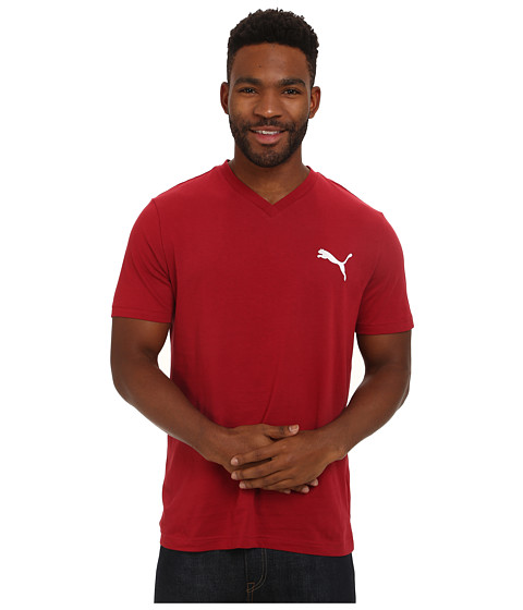 PUMA - Ideal V Tee (Rio Red/White) Men