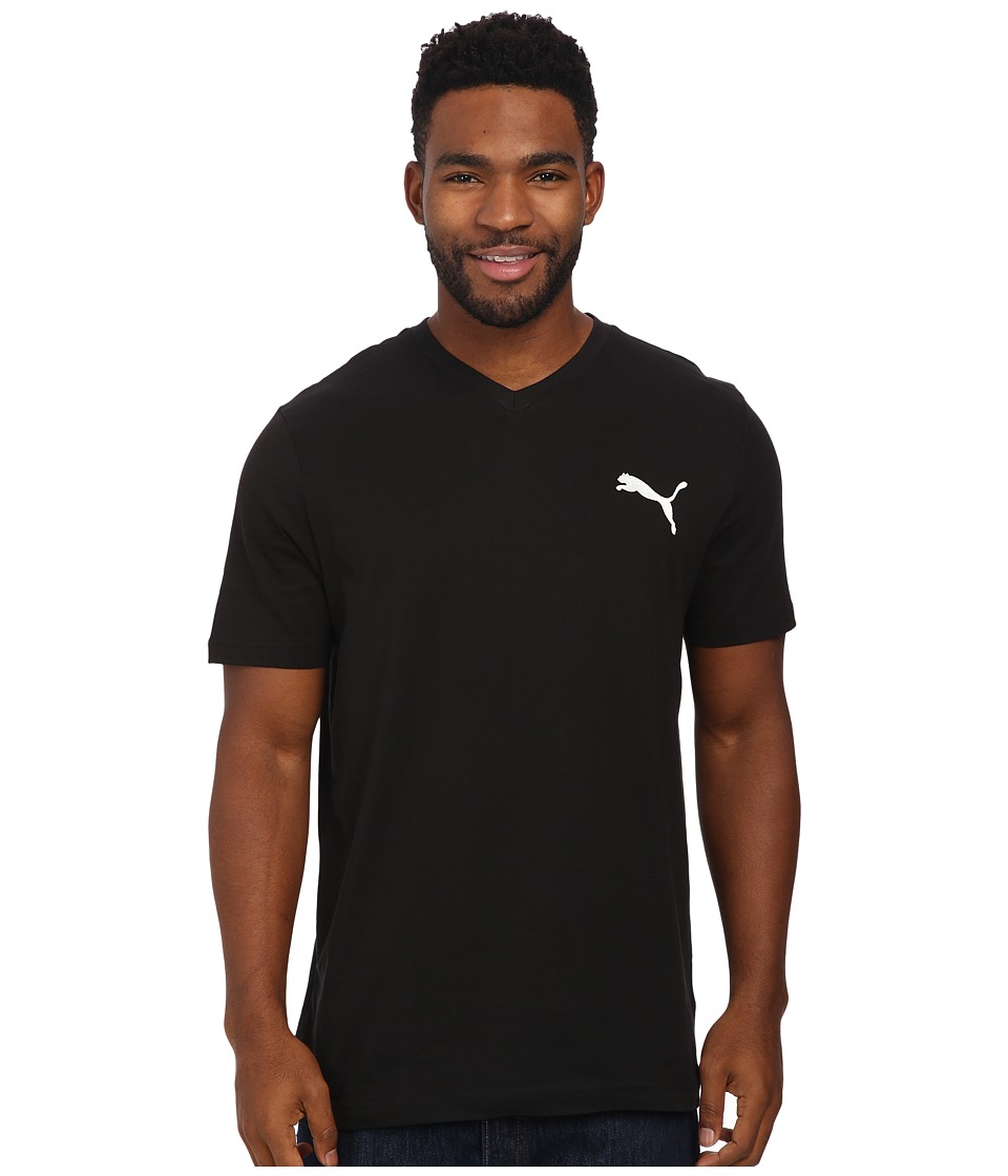 PUMA - Ideal V Tee (Black/White) Men's T Shirt