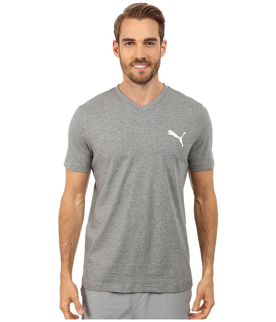 PUMA - Ideal V Tee (Medium Gray Heahter/White) Men