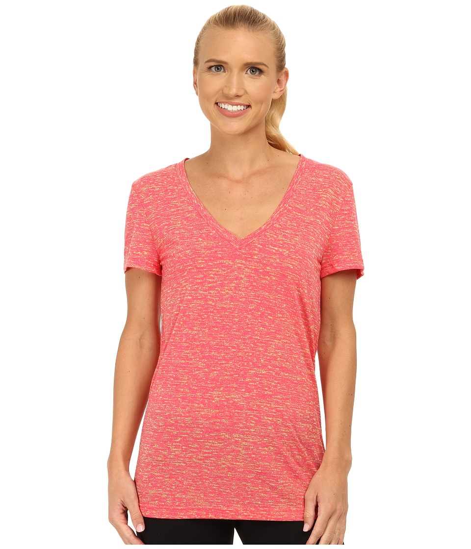adidas - 24 Seven Deep V-Neck Tee (Super Pink/Frozen Yellow) Women's Workout