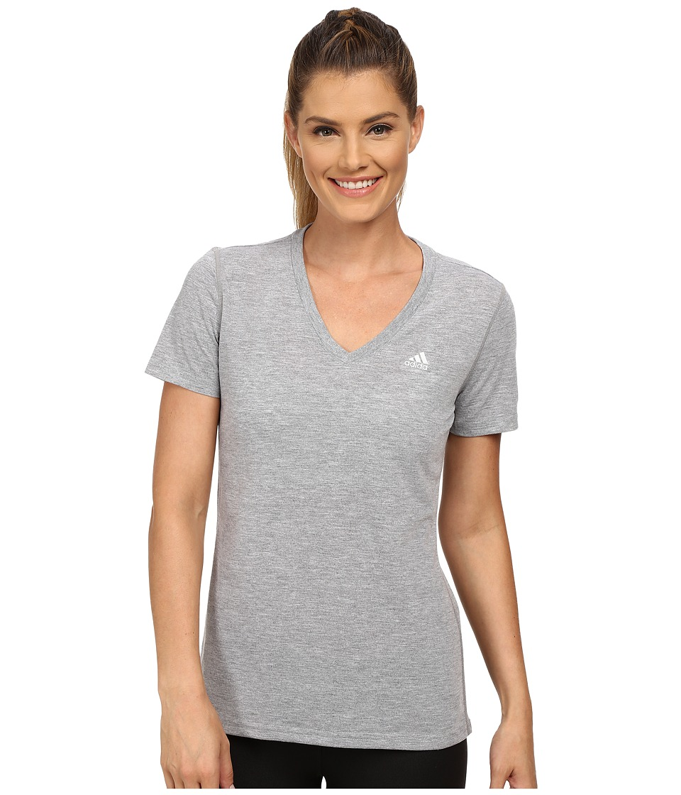 adidas - Ultimate S/S V-Neck Tee (Medium Grey Heather/Matte Silver) Women's T Shirt