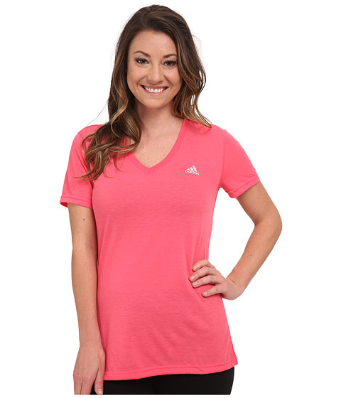 adidas - Ultimate S/S V-Neck Tee (Super Pink/Matte Silver) Women's T Shirt