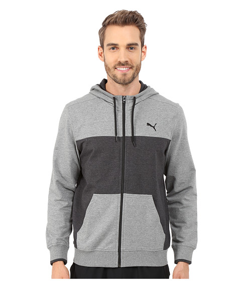 PUMA - Full Zip Lightweight Hoodie (Medium Gray Heather/Dark Grey Heather) Men's Sweatshirt
