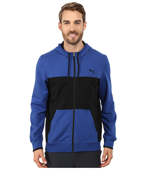 PUMA - Full Zip Lightweight Hoodie (Limoges Blue Heather/Black) Men