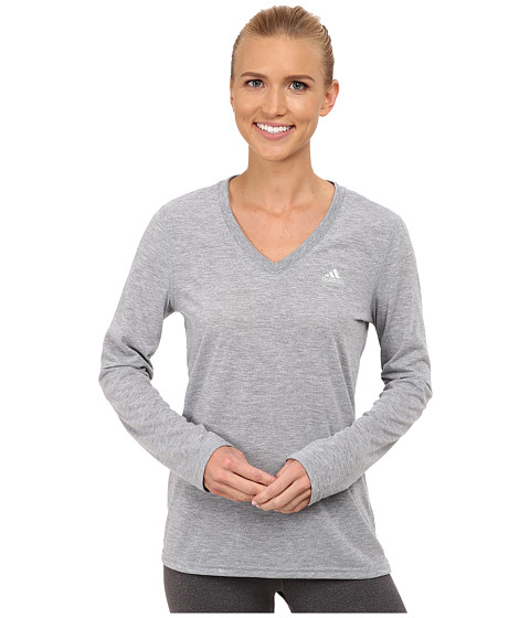 adidas - Ultimate Long Sleeve Tee (Medium Grey Heather/Matte Silver) Women's Long Sleeve Pullover