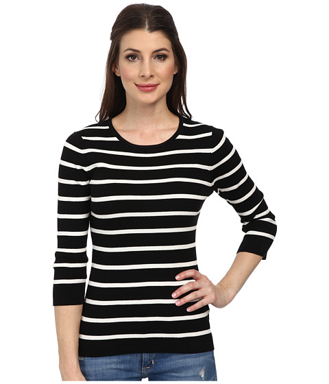 Pendleton - 3/4 Sleeve Stripe Pullover (Black/Ivory Stripe) Women's Long Sleeve Pullover