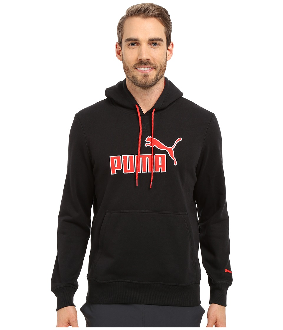 PUMA - No 1 Logo Hoodie (Black/High Risk Red) Men's Sweatshirt