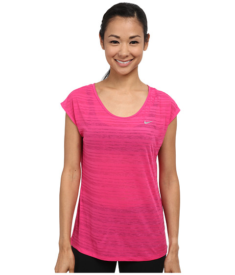 Nike - Dri-FIT Cool Breeze Short Sleeve Top (Vivid Pink/Reflective Silver) Women's Short Sleeve Pullover
