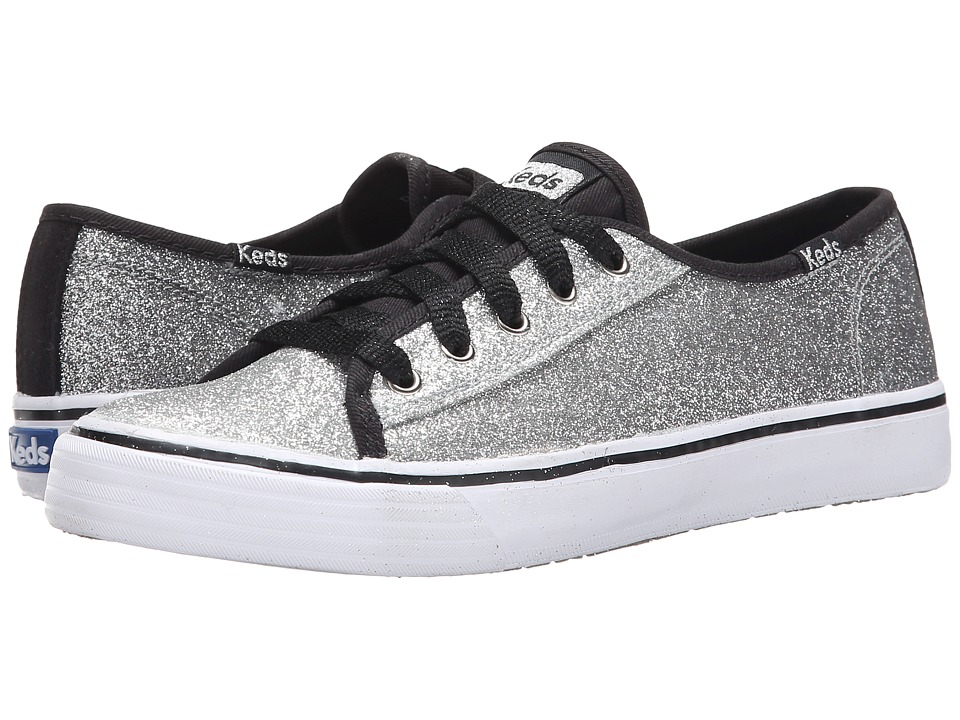 Keds Kids - Double Up (Little Kid/Big Kid) (Black/Silver Glitter Fade) Girl
