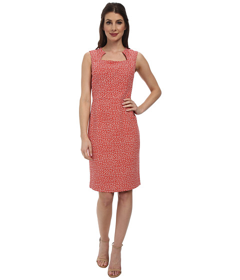 Pendleton - Sheila Print Sheath (Poppy Red/Oxford Tan Geo Print) Women's Dress