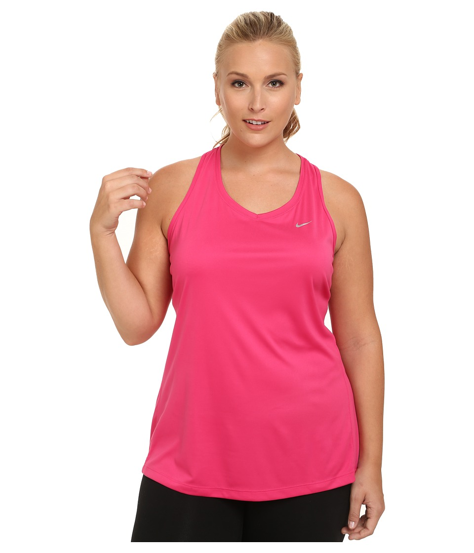 Nike - Dry Miler Running Tank (Size 1X-3X) (Vivid Pink/Reflective Silver) Women's Sleeveless
