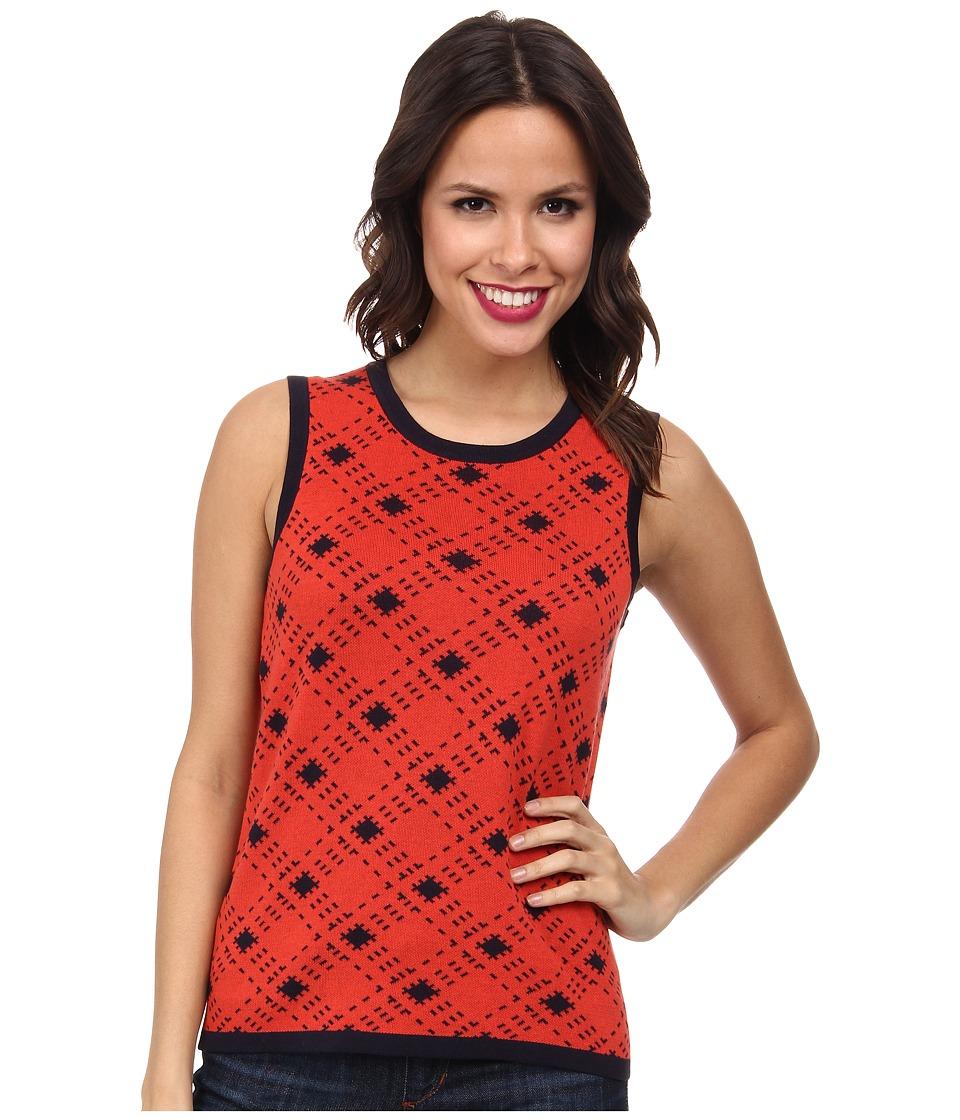 Pendleton - Bias Plaid Shell (Poppy Red/Midnight Navy) Women's Sweater