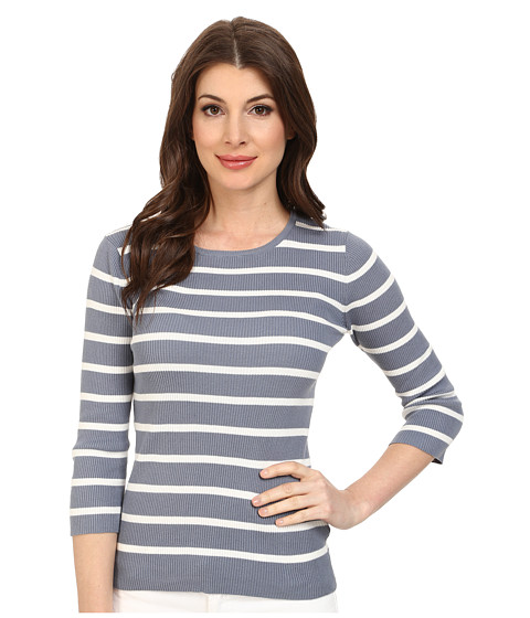 Pendleton - 3/4 Sleeve Stripe Pullover (Blue Ash/Ivory Stripe) Women's Long Sleeve Pullover