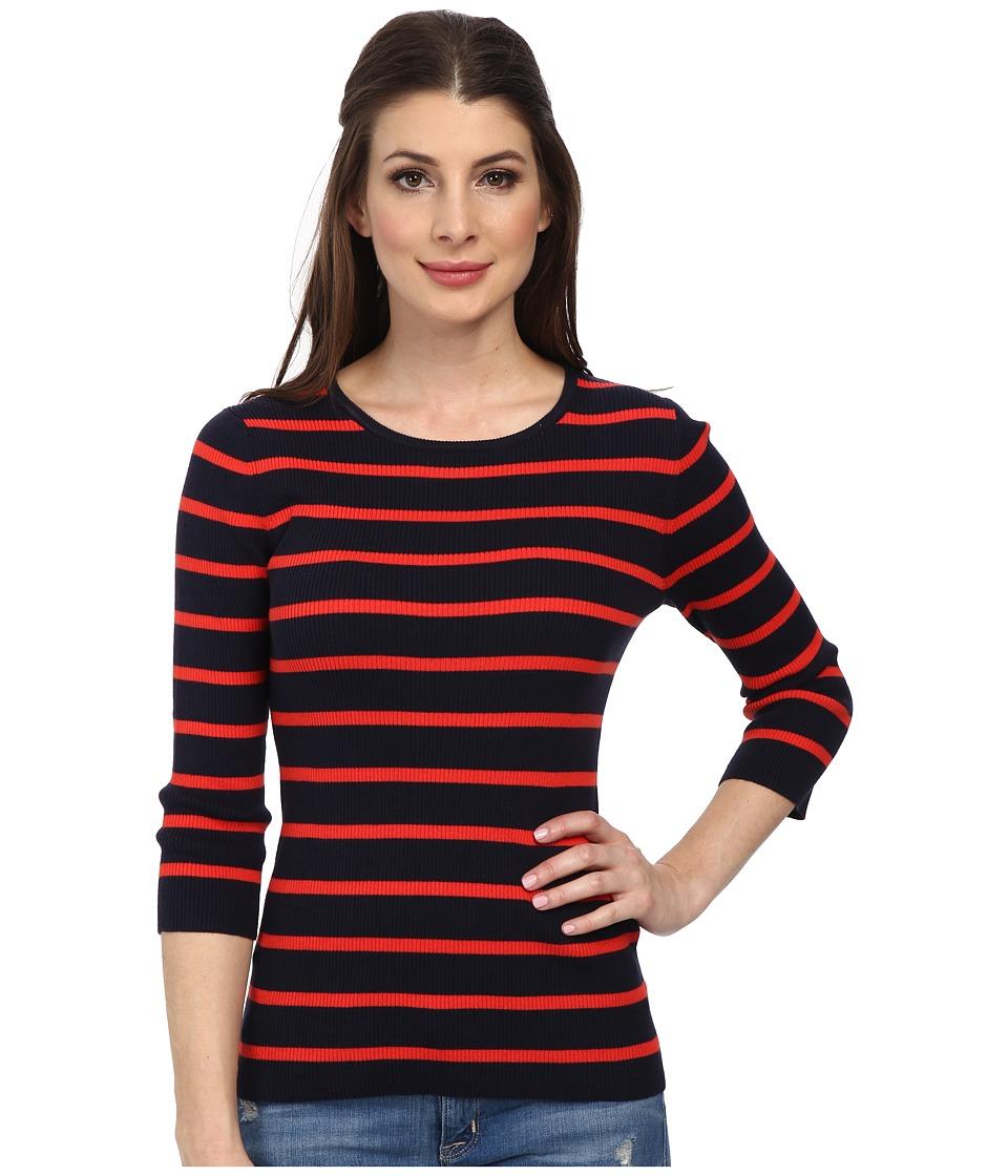 Pendleton - 3/4 Sleeve Stripe Pullover (Midnight Navy/Poppy Red Stripe) Women