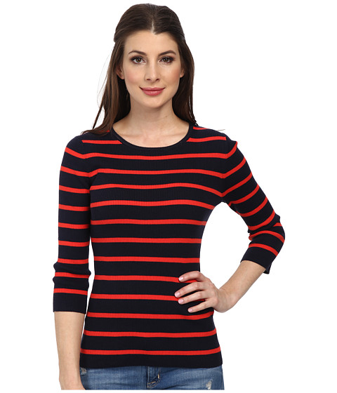 Pendleton - 3/4 Sleeve Stripe Pullover (Midnight Navy/Poppy Red Stripe) Women's Long Sleeve Pullover