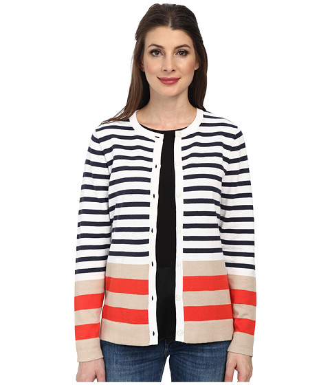 Pendleton - Placed Stripe Cardigan (White/Indigo Multi) Women's Sweater