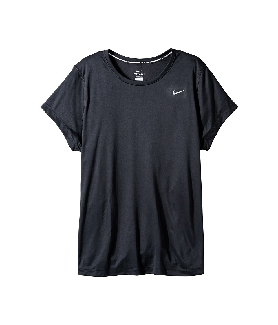 Nike - Miler Short-Sleeve Running Top (Size 1X-3X) (Black/Reflective Silver) Women's T Shirt