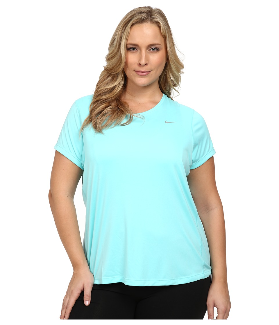 Nike Miler Short-Sleeve Running Top (Size 1X-3X) (Light Aqua/Reflective Silver) Women