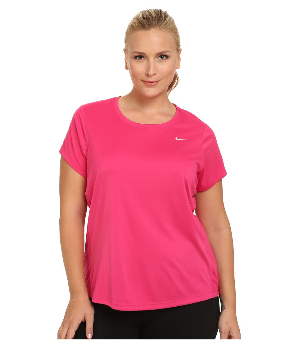 Nike - Miler Short-Sleeve Running Top (Size 1X 2X 3X) (Vivid Pink/Reflective Silver) Women's T Shirt plus size,  plus size fashion plus size appare