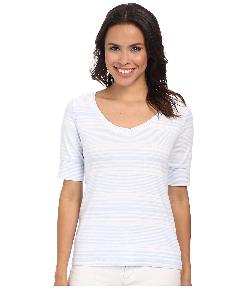 Pendleton - Stripe V-Neck Rib Tee (White/Kentucky Blue Stripe) Women