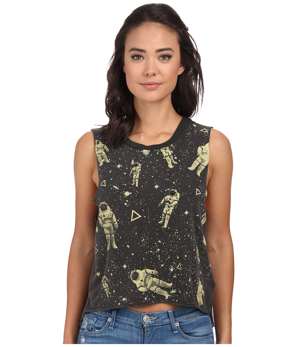 Chaser - Spaceman Cotton Muscle Crop Top (Vintage Black) Women's Sleeveless