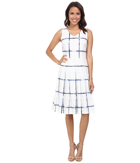 Pendleton - Pleat Print Dress (Ivory/Blue Plaid Print) Women