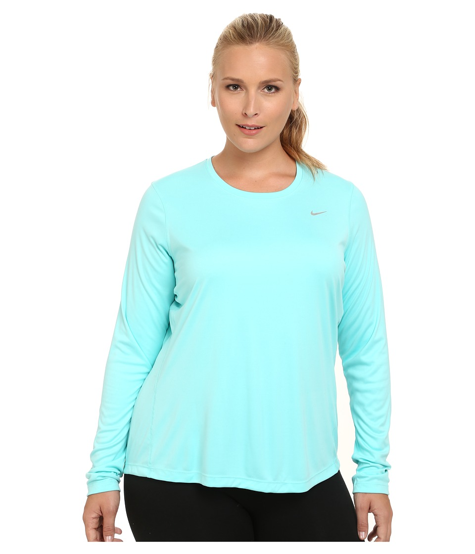 Nike - Miler Long-Sleeve Running Top (Size 1X 2X 3X) (Light Aqua/Reflective Silver) Women's Long Sleeve Pullover plus size,  plus size fashion plus size appare
