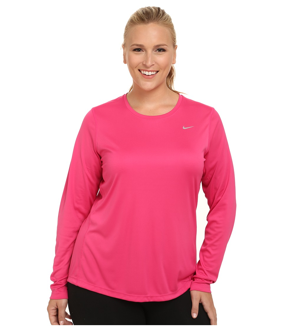 Nike - Miler Long-Sleeve Running Top (Size 1X 2X 3X) (Vivid Pink/Reflective Silver) Women's Long Sleeve Pullover plus size,  plus size fashion plus size appare