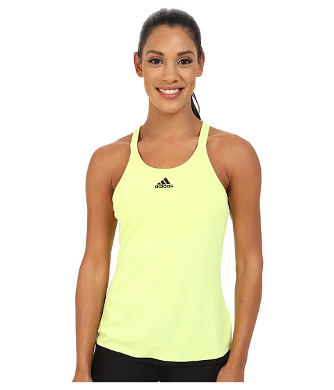 adidas - CLIMACHILL Tank - Built-In Bra (Chill Light Frozen Yellow Melange/Black) Women's Sleeveless