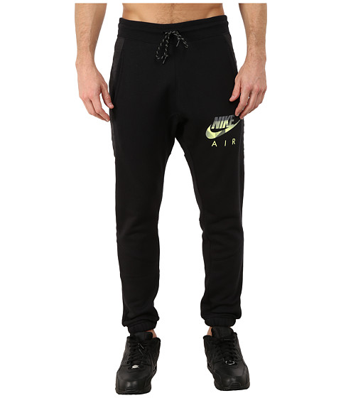 Nike - AW77 Fleece Cuff Pants Hybrid (Black/Heather/Black/Volt) Men