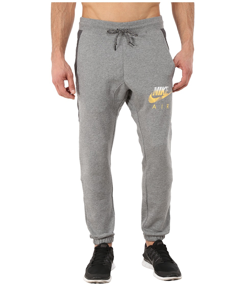 Nike - AW77 Fleece Cuff Pants Hybrid (Carbon Heather/Wolf Grey/Laser Orange) Men's Casual Pants